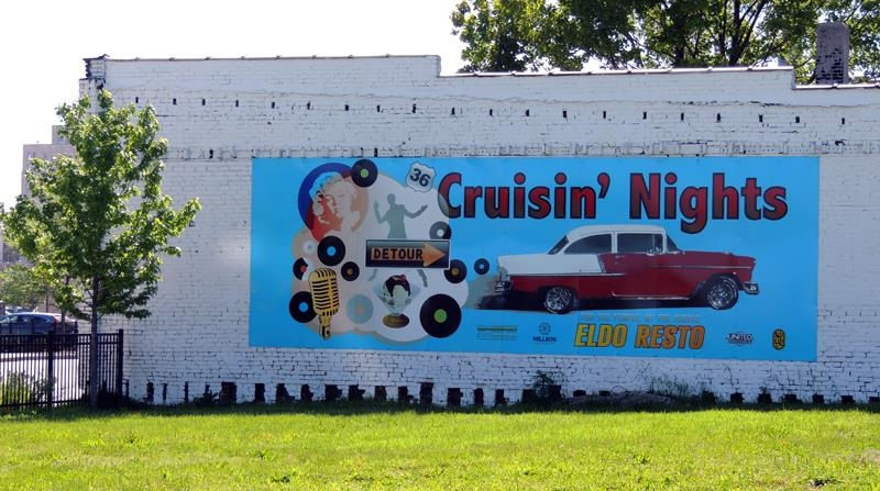 Cruisin' Eldo Nights wall mural on the side of the GB Records building on Eldorado St.