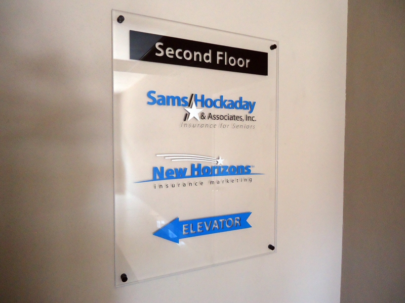 Hockaday Insurance interior acrylic display with standoffs